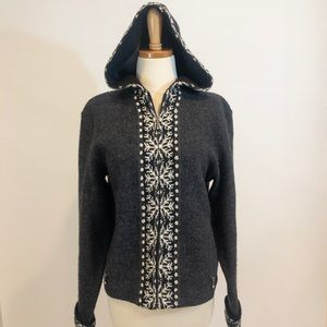 Woolrich Charcoal Snowflake Cardigan Sweater